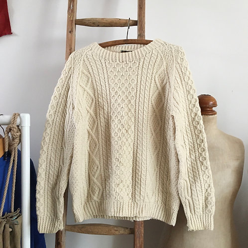 True Vintage 1960s Irish Cable Wool Sweater S M
