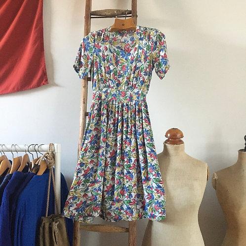 """True Vintage 1940s Floral Dress UK8 10 W28"""""""