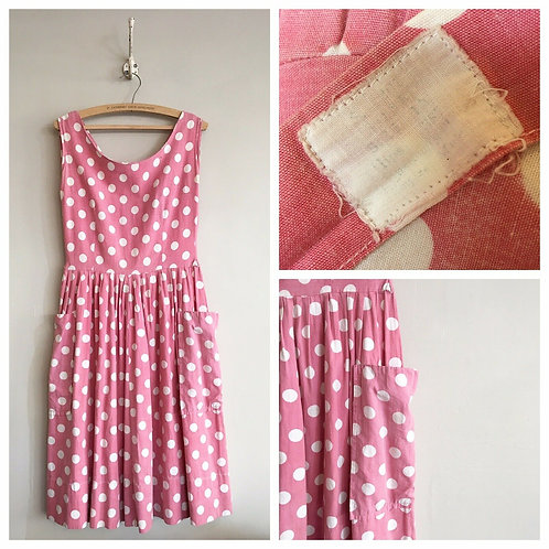 "True Vintage 1950s Polka Dot Cotton Dress UK8 10 W28"""