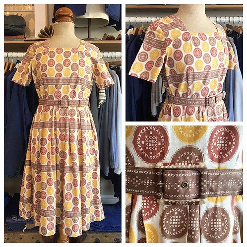 "True Vintage 1950s Circular Print Cotton Belted Dress UK12 W30"""