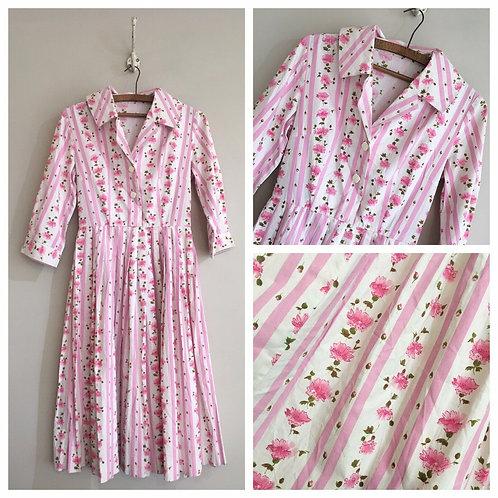"True Vintage 1950s Cotton Floral Stripe Dress UK6 8 W26"""