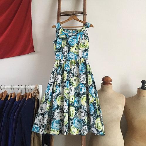 "True Vintage 1950s Floral Print Dress UK8 W26"" XS"