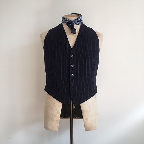Vintage French 1920s/30/40s Patched Cinch Back Worker's Waistcoat S/ S- M