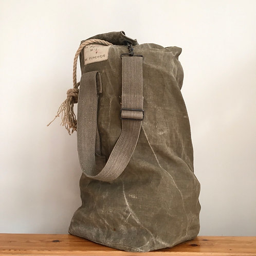 True Vintage French 'MJL Porcher' Military Canvas Kit Bag
