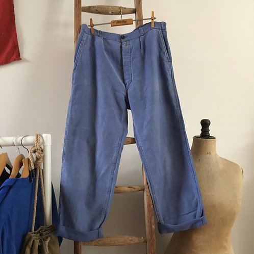 """Vintage 1950s French Faded Moleskin Chore Trousers W32"""""""