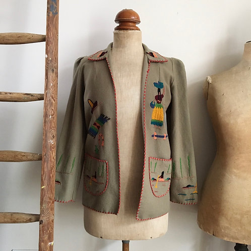 True Vintage 1940s 'Lopez' Mexican Tourist Jacket  XS S
