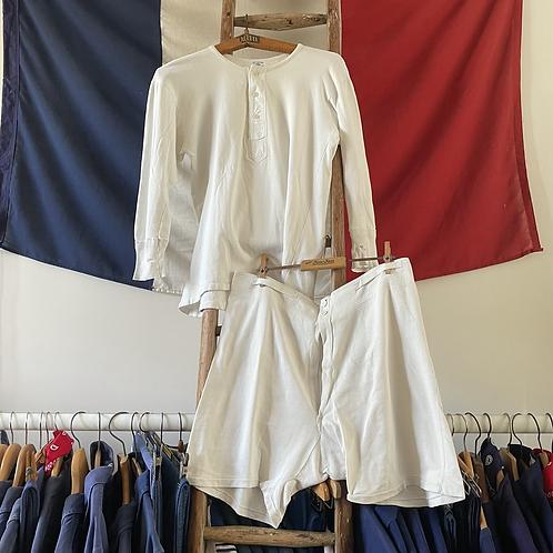 True Vintage French 1940s Henley Shirt & Shorts Set S