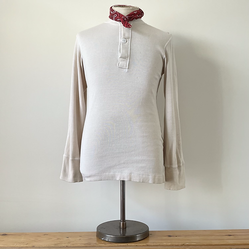 True Vintage USA Military Wool & Cotton Henley Shirt S M