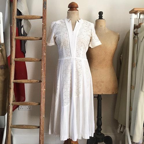 """Original 1940s USA White Lace Dress UK8 10 W27"""""""