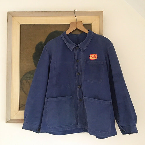 True Vintage French Workwear Chore Jacket with SB Patch L