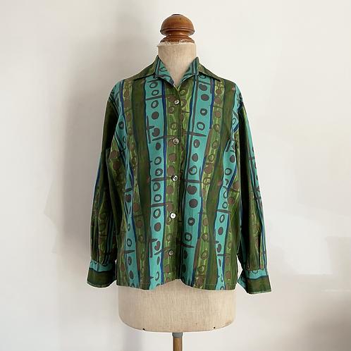 True Vintage 1950s/60s Swan Italian Cotton Painterly Print Shirt M- L