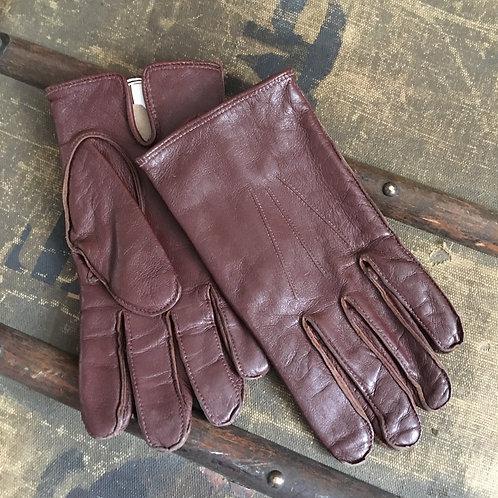 Vintage Men's Chestnut Leather Gloves 9.5