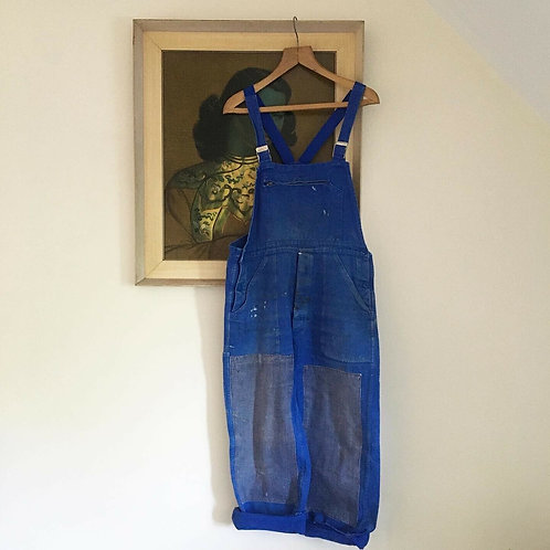 True Vintage French Patched Workwear Dungarees S M