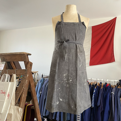 True Vintage 1940s French Cotton Artist's Apron Pinafore One Size