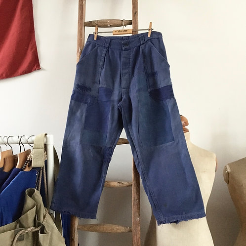 """True Vintage French Patched & Faded Workwear Trousers W30"""""""