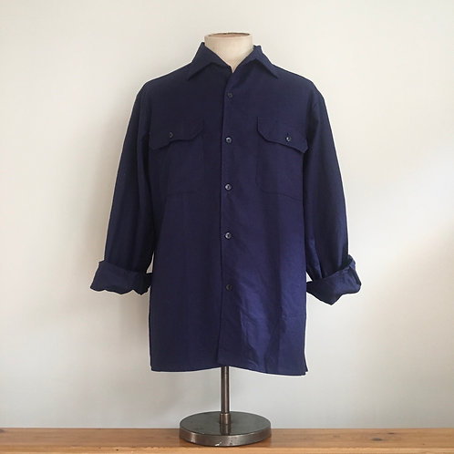 Vintage French Navy Workwear Cotton Shirt L