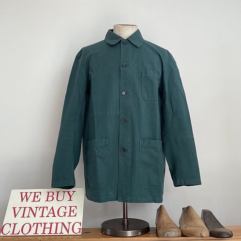 Vintage Style French Vétra Green Cotton Workwear Jacket L
