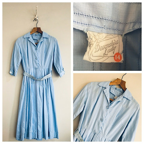 True Vintage 1950s Devonshire Lady Cotton Dress UK8 10 W28""