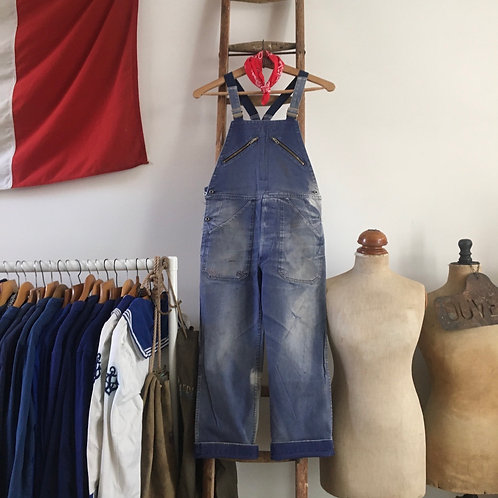 True Vintage 1960s French Adolphe Lafont Faded Workwear Dungarees XS