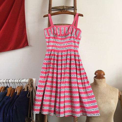 "True Vintage 1950s Striped Floral Print Dress UK8 10 W27"""