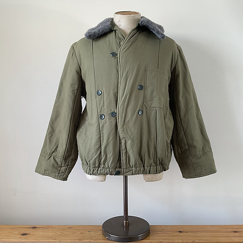 Vintage Military Liner with Faux Fur Collar Jacket M