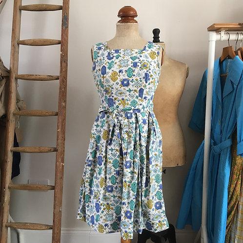 "Original 1950s Printed Cotton Day Dress UK8 10 W28"""