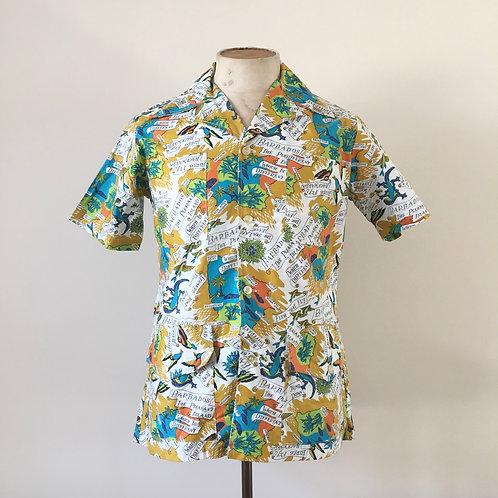 Vintage 1950s/60s Novelty Print Barbados Shirt S M
