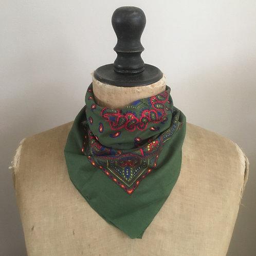 Vintage Bandana Neckerchief Scarf/ Green