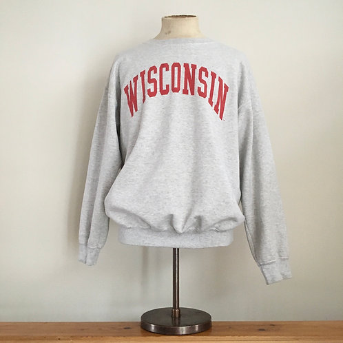 Vintage USA Wisconsin Grey Marl Sweatshirt L