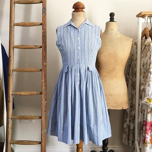 "Vintage 1950s Gingham Cotton Dress UK8 10 W27"""