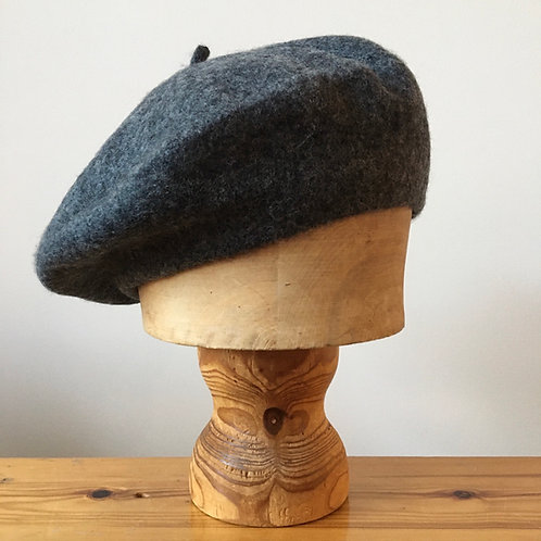 Woolmark 100% Wool Beret Hat / Dark Pewter