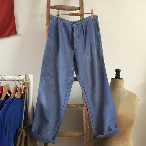 """True Vintage 1950s French Faded Distressed Moleskin Chore Trousers W32"""""""