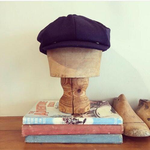 Vintage 1940s/50s Style Newsboy Navy Blue Wool Cap S/M