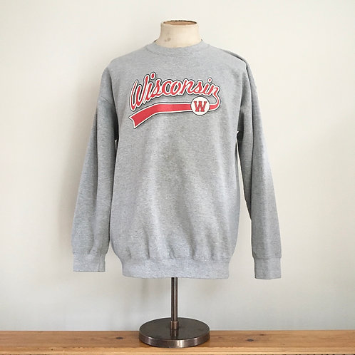 Vintage 1980s USA Wisconsin Grey Marl Sweatshirt L/ XL
