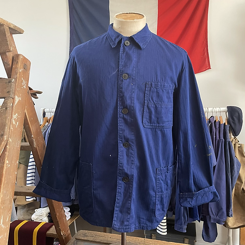 Vintage German Herringbone Cotton Workwear Jacket M