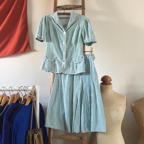 True Vintage 1940s Gingham Skirt Suit UK8 10