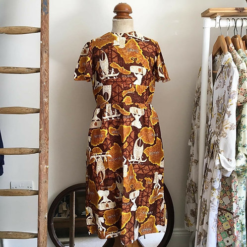 True Vintage 1960s Hawaiian Novelty Print Dress UK12 14 M