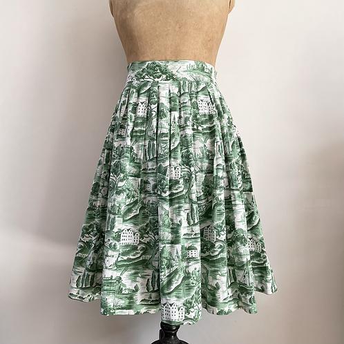 "True Vintage 1950s Novelty Scenic Print Cotton Skirt UK12 W30"""