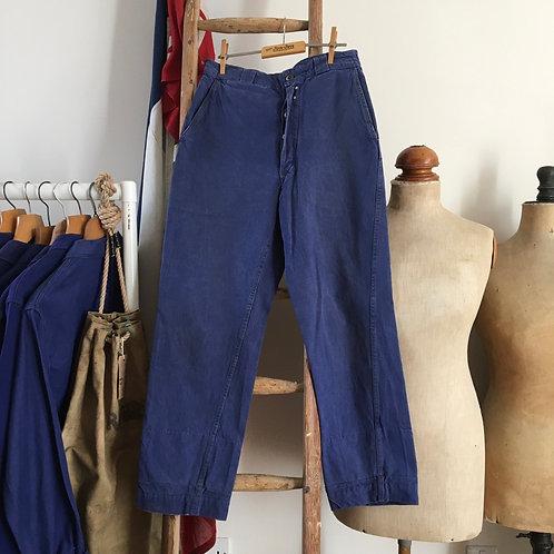 """Vintage 1940s Au Petit Marché French Chore Trousers W28"""""""