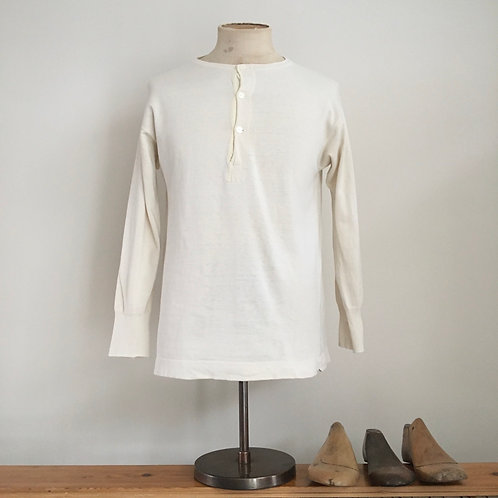 True Vintage French 1940s/50s Henley Top M