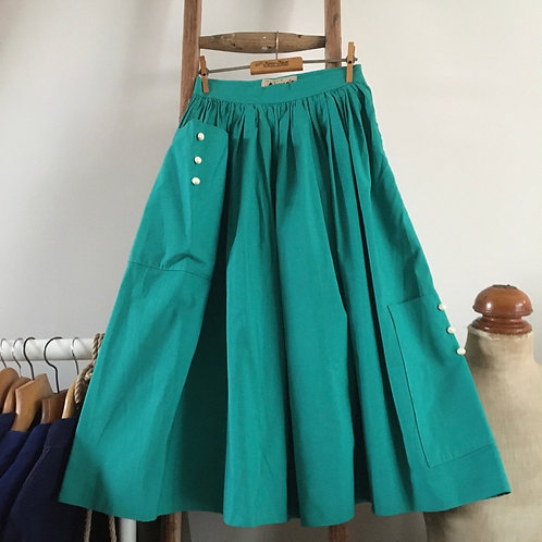 True Vintage 1950s Wesdo Grosgrain Cotton Skirt UK6 8 W25""
