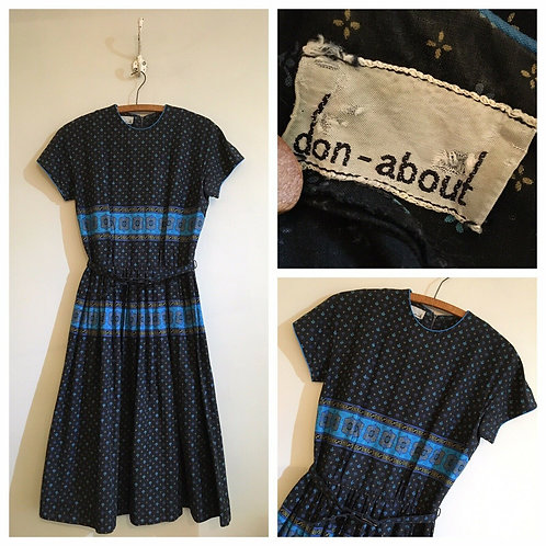 """True Vintage 1950s/60s Don- About Belted Cotton Dress UK8 10 W27"""""""