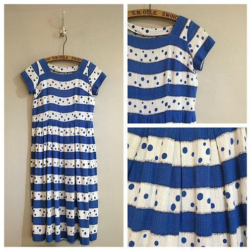 "True Vintage 1940s/50s Woven Cotton Striped Polka Dot Dress UK12 W31"""
