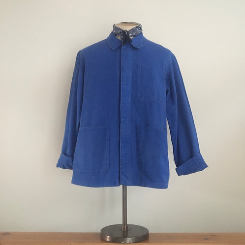 Vintage French Cobalt Bleu de Travail Workwear Jacket M