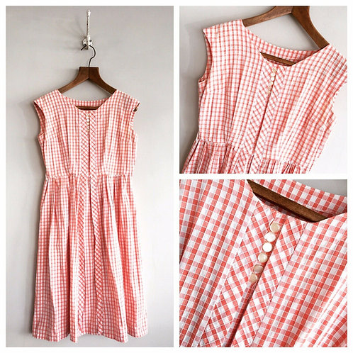True Vintage 1950s Coral Gingham Cotton Check Dress UK10 W29""