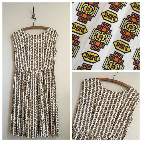 "True Vintage 1940s/50s Cotton Print Day Dress UK8 10 12 W29"""