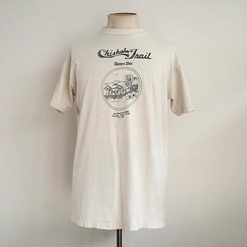 True Vintage 1970s Chisholm Trail Western Tee- Shirt M-L/L
