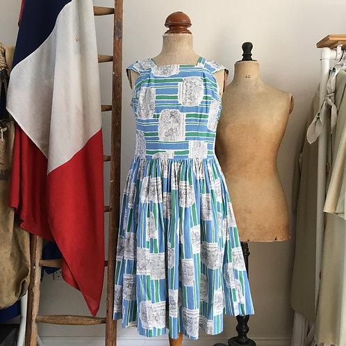 "True Vintage 1950s French Novelty Print Cotton Dress UK12 W30"""