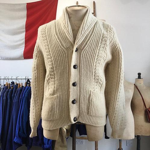 True Vintage Men's Cable Wool Cardigan M L