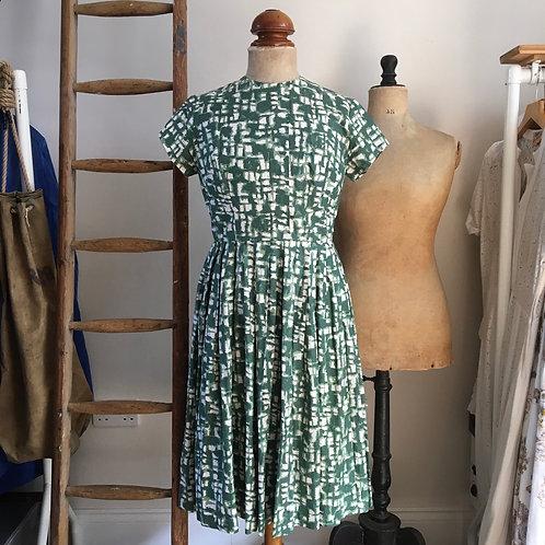 "True Vintage 1950s Painterly Print Dress UK10 12 W30"""